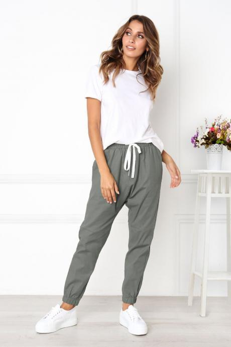 Womens Casual Harem Pants Drawstring Mid Waist Ankle Length Female Loose Trousers gray