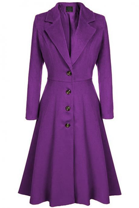 Women Trench Coat Autumn Winter Single Breasted Turn-down Collar Warm Slim Long Sleeve Jacket Outwear Windbreaker purple