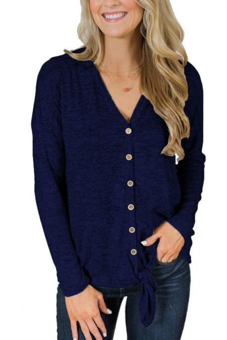 Women Knitting Coat Autumn V Neck Button Down Tops Long Sleeve Tie Knot Casual Thin Jacket navy blue