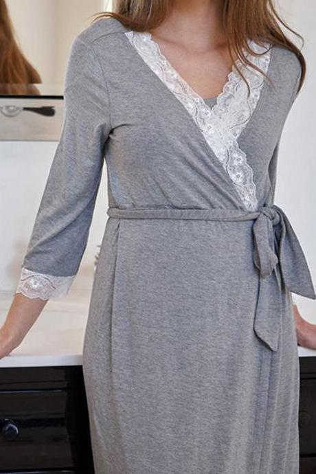 Pregnant Women Pajamas Lace Patchwork 3/4 Sleeve Maternity Sleepwear Nightgown Pregnancy Dress Nursing Clothes dark gray