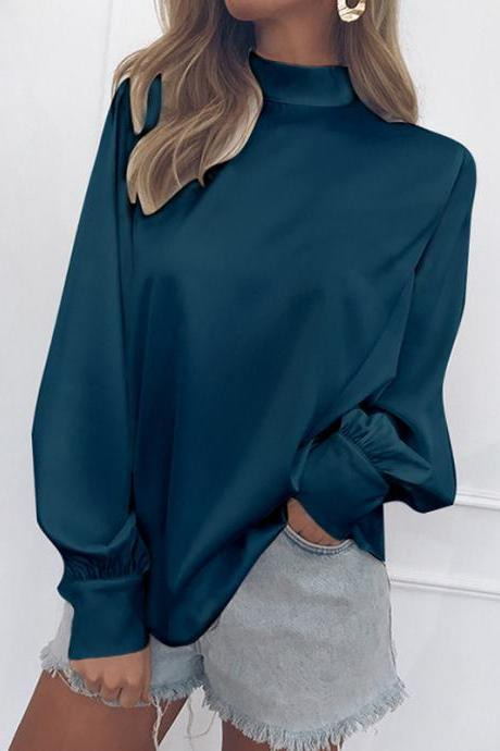 Women Blouse Autumn Turtleneck Lantern Long Sleeve Solid Casual Loose Office Tops Shirt teal