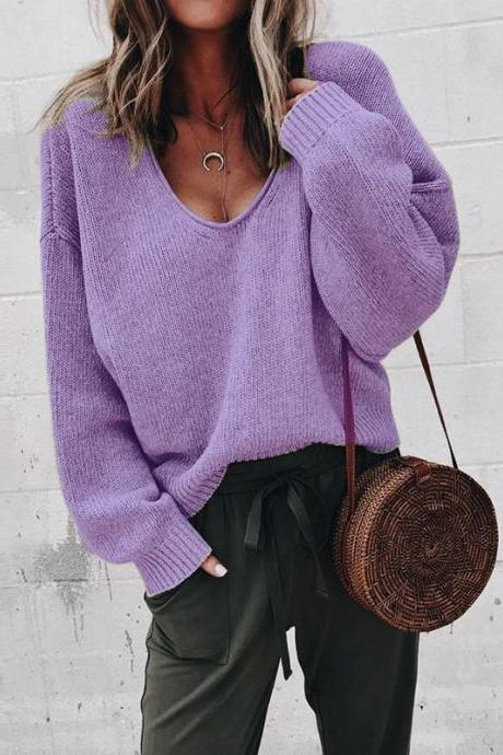Women Knitted Sweater Autumn Solid V Veck Long Sleeve Casual Loose Pullover Tops purple