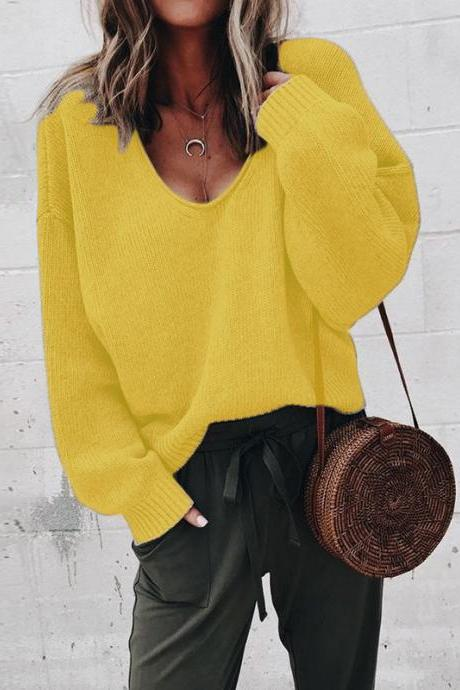 Women Knitted Sweater Autumn Solid V Veck Long Sleeve Casual Loose Pullover Tops yellow