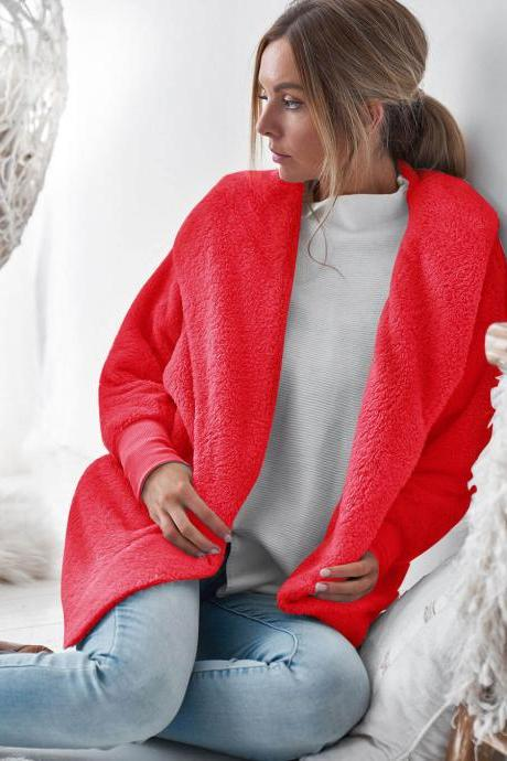 Women Plush Coat Autumn Winter Long Sleeve Hooded Casual Loose Open Stitch Cardigan Jacket Overcoat Outerwear red