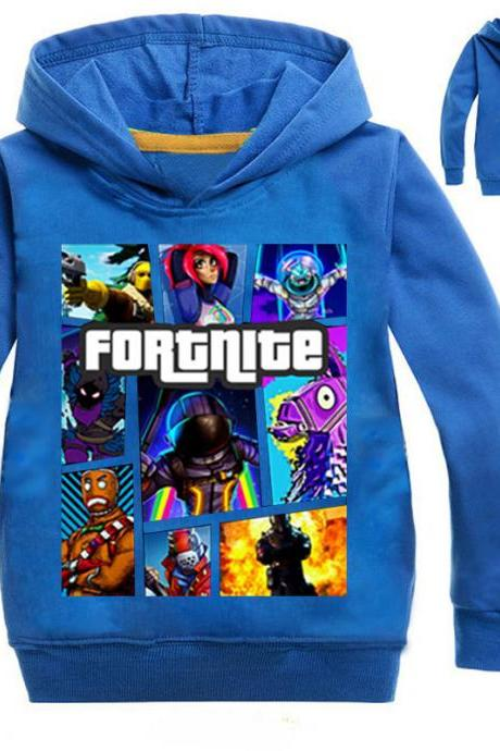 Fashion Boys Girls Sweatshirt Spring Autumn Cartoon Printed Long Sleeve T Shirt Kids Children Sport Hoodies blue