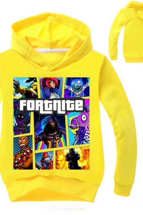Fashion Boys Girls Sweatshirt Spring Autumn Cartoon Printed Long Sleeve T Shirt Kids Children Sport Hoodies yellow