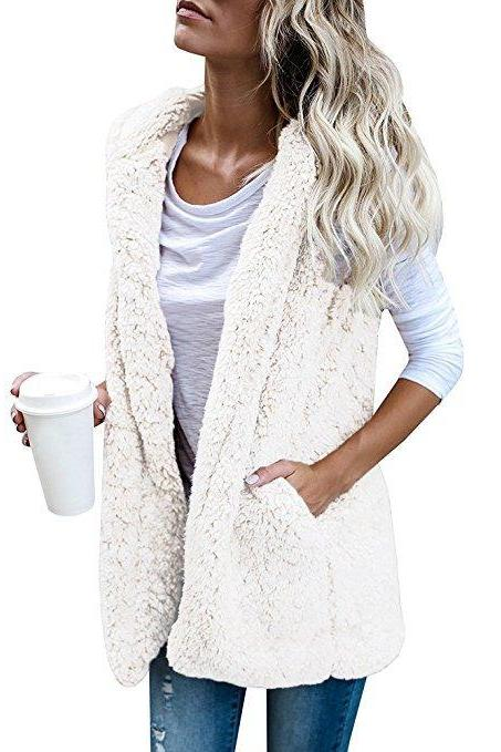 Women Fleece Waistcoat Autumn Winter Hooded Sleeveless Casual Loose Warm Open Stitch Vest Jacket Outwear off white