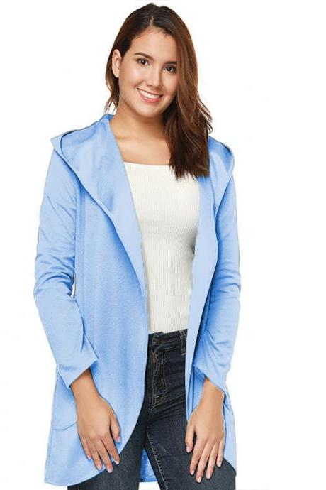 Women Woolen Blend Coat Autumn Solid Long Sleeve Casual Loose Hooded Plus Size Jacket Outwear sky blue