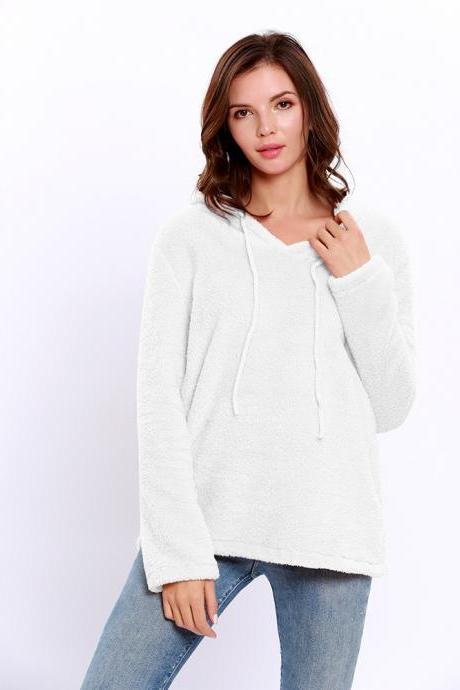 Women Hoodies Autumn Winter Solid Warm Casual Long Sleeve Pullover Top Fleece Sweatshirts off white
