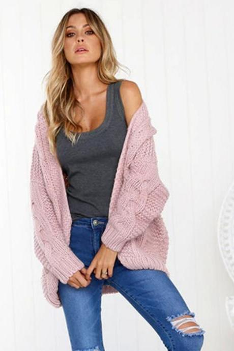 Women Thick Knitted Sweater Autumn Winter Batwing Long Sleeve Casual Loose Jumper Cardigan Coat pink