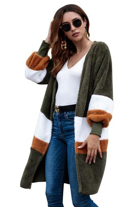Women Plush Coat Sweater Autumn Winter Long Sleeve Casual Loose Patchwork Color Warm Cardigan Jacket army green