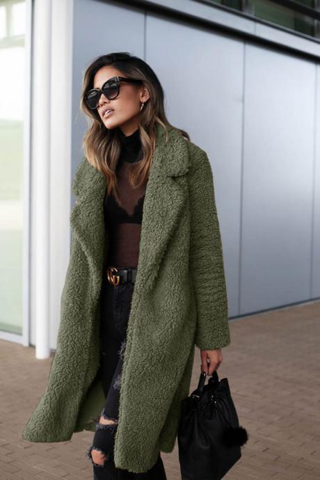 Women Plush Coat Winter Thick Long Sleeve Turn-down Collar Casual Loose Fleece Warm Long Jacket Outerwear army green