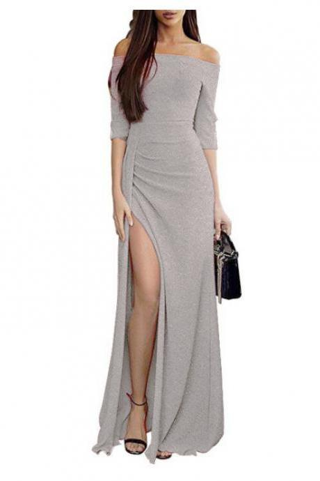Women Bodycon Dress Long Sleeve Off the Shoulder Glitter High Split Maxi Long Evening Party Dress silver