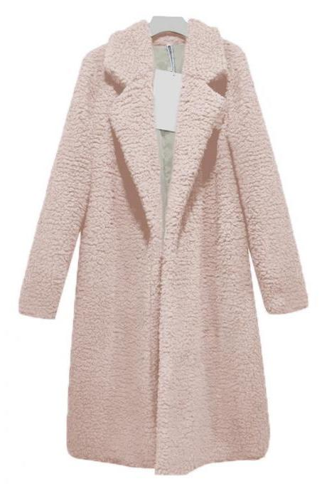 Women Teddy Faux Fur Coat Turn-Down Collar Long Sleeve Warm Winter Thick Plush Long Jacket Cardigan Overcoat pink
