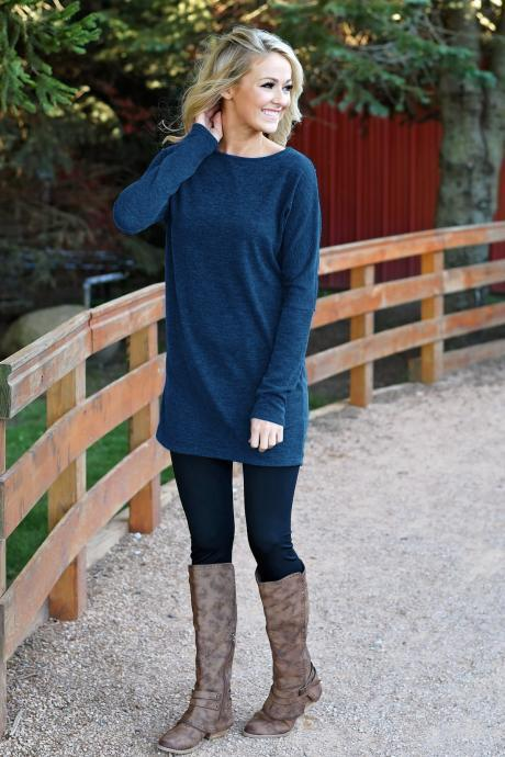 Women Causal Dress Autumn Winter Long Sleeve Loose Knitted Streetwear Mini Dress blue