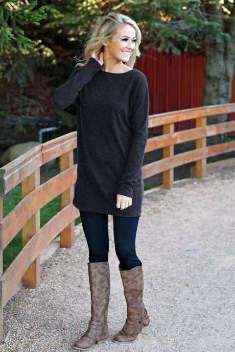 Women Causal Dress Autumn Winter Long Sleeve Loose Knitted Streetwear Mini Dress gray-black
