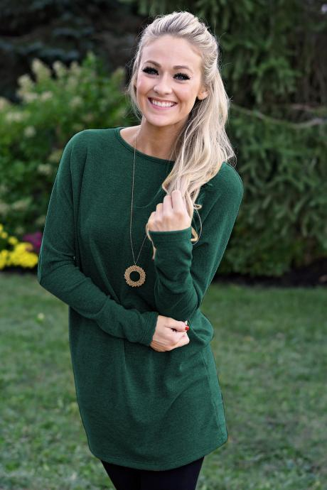 Women Causal Dress Autumn Winter Long Sleeve Loose Knitted Streetwear Mini Dress green
