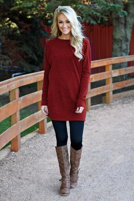 Women Causal Dress Autumn Winter Long Sleeve Loose Knitted Streetwear Mini Dress red