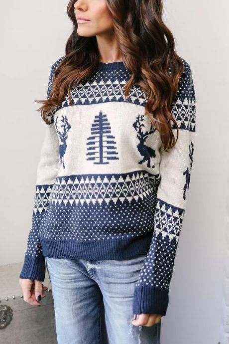 Women Knitted Sweater Christmas Deer Printed Autumn Winter Long Sleeve Casual Loose Pullover Tops navy blue