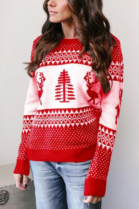 Women Knitted Sweater Christmas Deer Printed Autumn Winter Long Sleeve Casual Loose Pullover Tops red