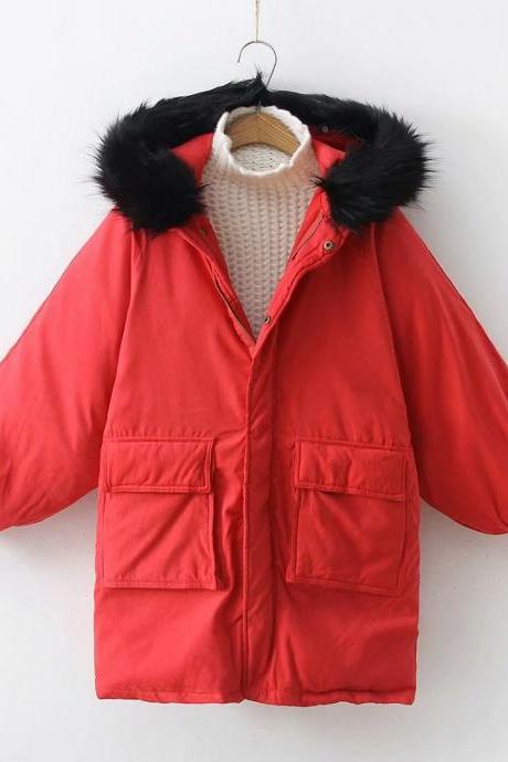 Women Parkas Coat Winter Warm Thick Long Sleeve Pockets Hooded Casual Loose Cotton Down Jacket red