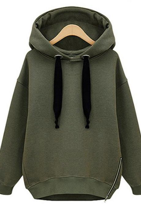 Women Hooded Sweatshirt Autumn Winter Warm Long Sleeve Zipper Casual Loose BF Hoodies army green