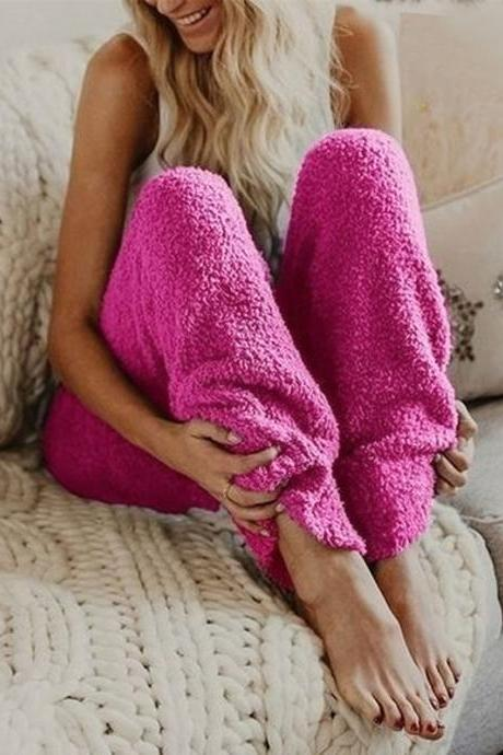 Women Velvet Pants Autumn Winter Warm Thick Fleece Causal Loose Plus Size Trousers hot pink