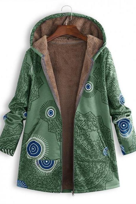 Women Hooded Coat Vintage Floral Printed Winter Warm Plus Size Casual Fleece Jacket green