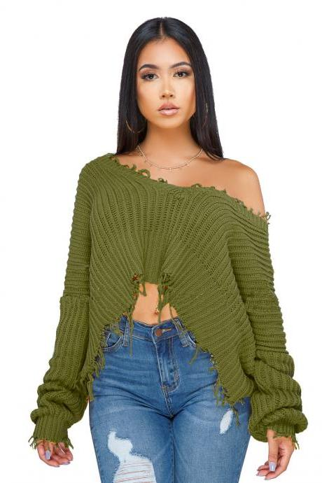 Women Oversize Knitted Sweater Autumn Winter Long Sleeve Ripped V Neck Casual Loose Pullover Crop Tops army green