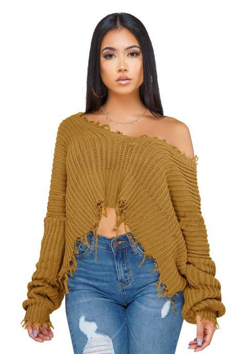 Women Oversize Knitted Sweater Autumn Winter Long Sleeve Ripped V Neck Casual Loose Pullover Crop Tops camel