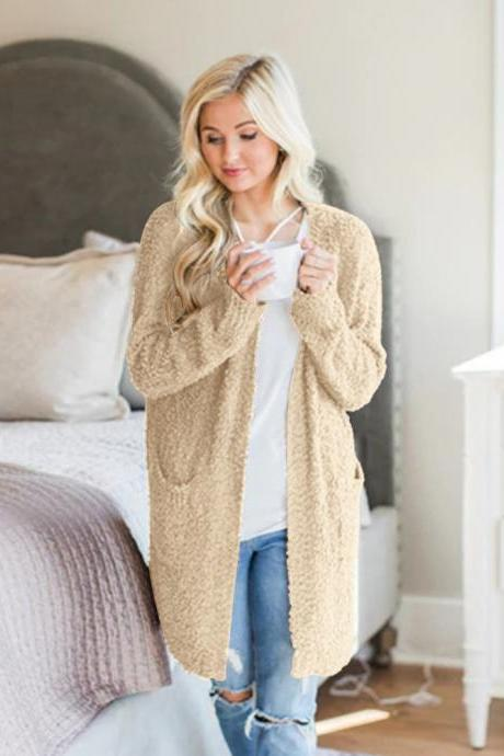 Women Sweater Coat Autumn Winter Pocket Long Sleeve Loose Casual Long Cardigan Jacket khaki