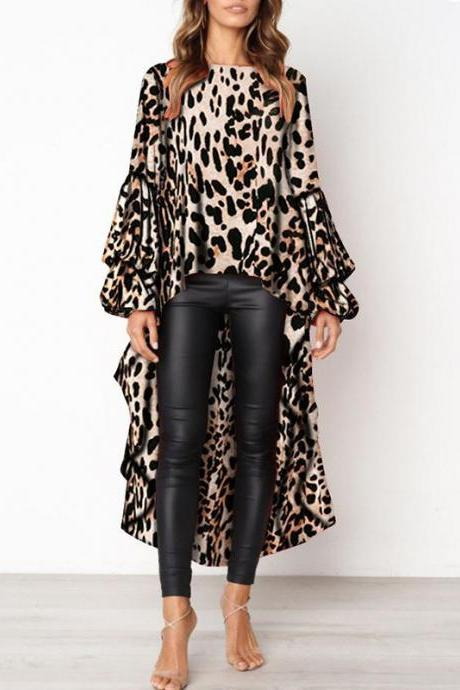 Women Asymmetrical Dress Long Lantern Sleeve Streetwear Leopard Printed Casual Tops 100238-khaki