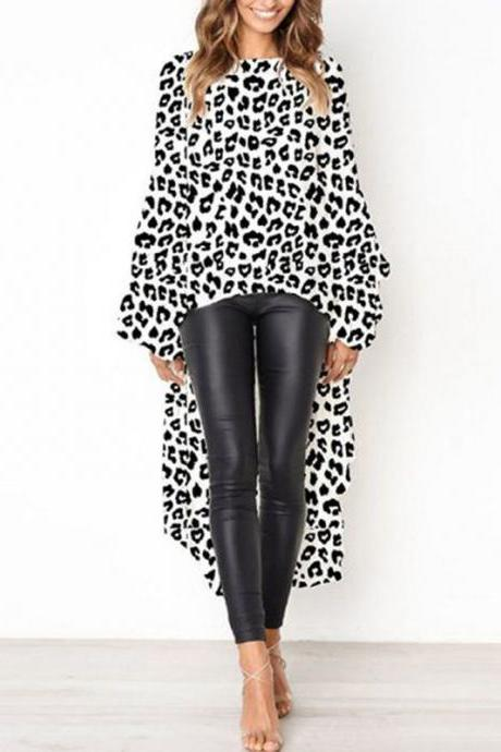 Women Asymmetrical Dress Long Lantern Sleeve Streetwear Leopard Printed Casual Tops 100238-off white