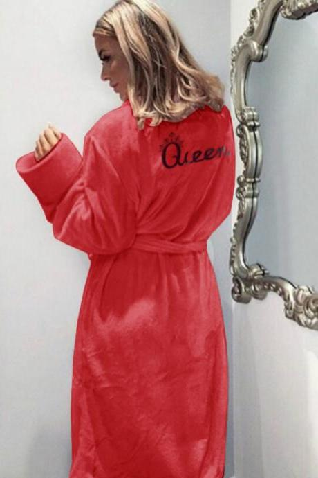 Women Flannel Pajamas Winter Warm Belted Long Sleeve Letter Printed Night Dress Sleepwear Bathrobe red