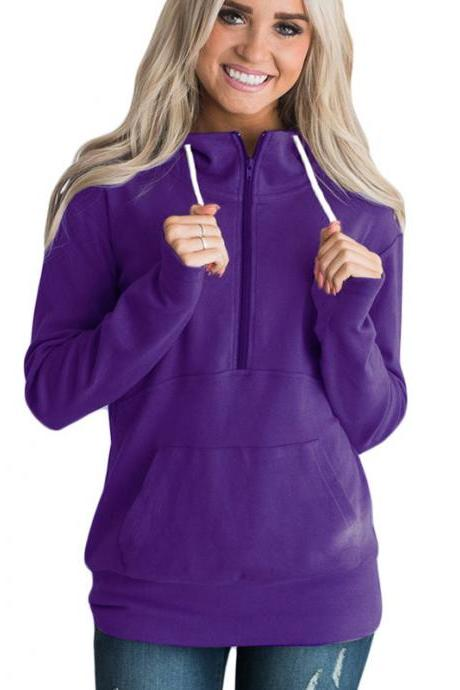 Womens Hoodies Autumn Winter Casual Zipper Hooded Pockets Sweatshirt Pullover Tops purple