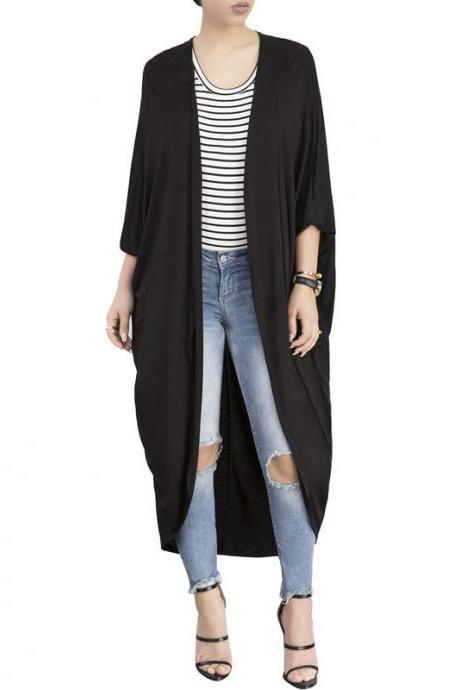 Women Trench Coat Autumn 3/4 Bat Sleeve Casual Loose Asymmetrical Long Cardigan Jacket black