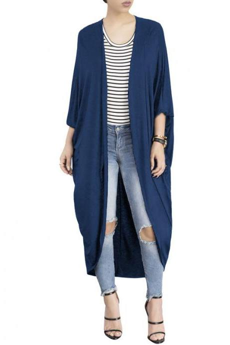 Women Trench Coat Autumn 3/4 Bat Sleeve Casual Loose Asymmetrical Long Cardigan Jacket navy blue