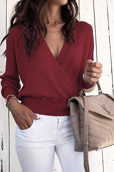 Women Knitted Sweater Autumn Winter Warm V-Neck Long Sleeve Casual Loose Pullovers Top wine red