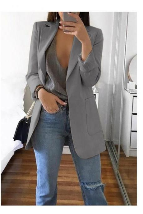 Women Blazer Coat Autumn Long Sleeve Slim Fit Work Office Business Casual Suit Coat gray