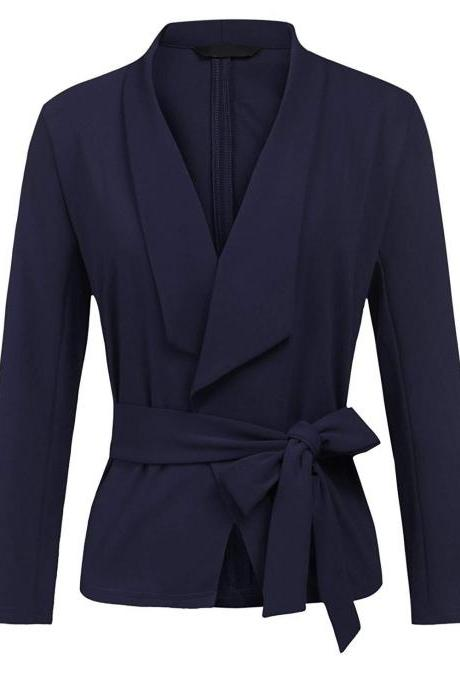Women Blazer Coat Autumn Long Sleeve Belted Casual Work Office Lady Slim Suit Jacket navy blue