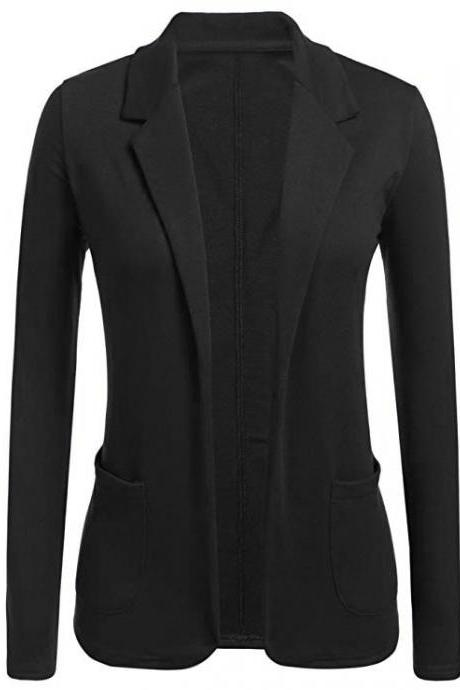 Women Blazer Coat Autumn Casual Long Sleeve Work Office Business Lady Slim Suit Jacket black
