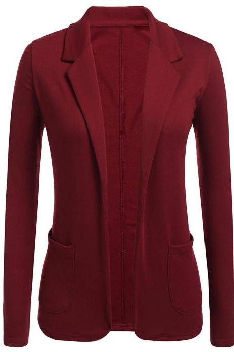 Women Blazer Coat Autumn Casual Long Sleeve Work Office Business Lady Slim Suit Jacket crimson