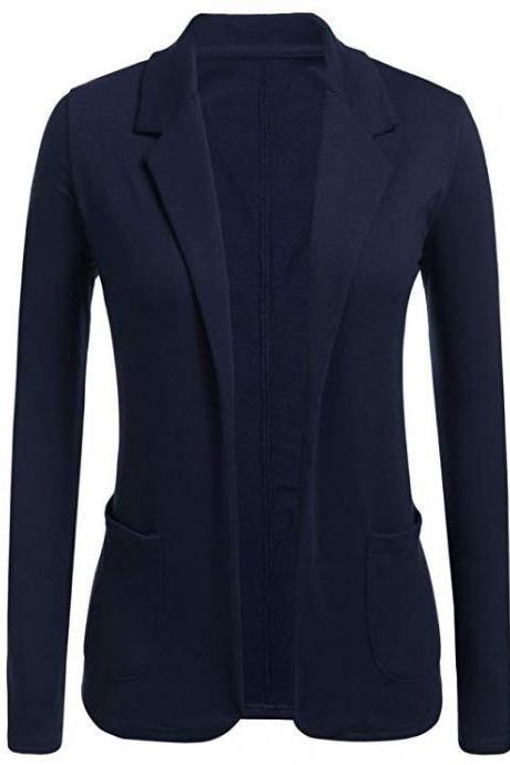 Women Blazer Coat Autumn Casual Long Sleeve Work Office Business Lady Slim Suit Jacket navy blue