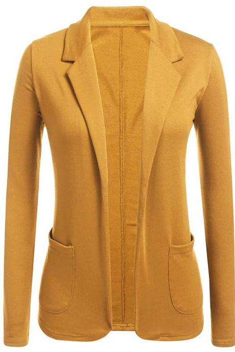 Women Blazer Coat Autumn Casual Long Sleeve Work Office Business Lady Slim Suit Jacket yellow