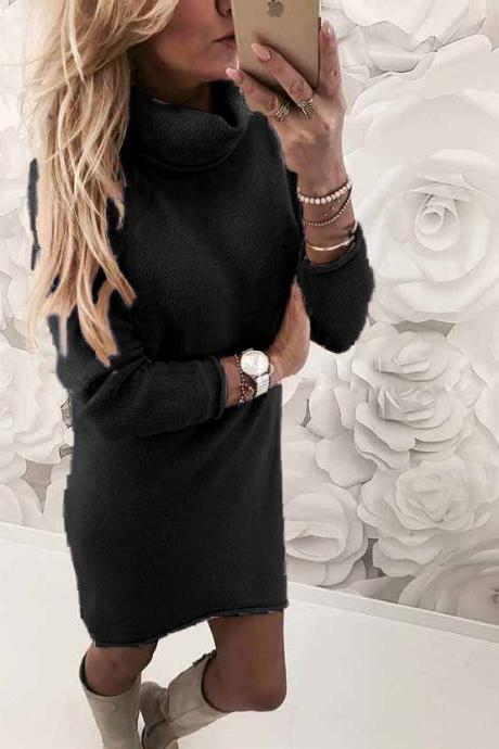 Women Sweater Dress Autumn Winter Turtleneck Long Sleeve Casual Streetwear Mini Knitted Dress black