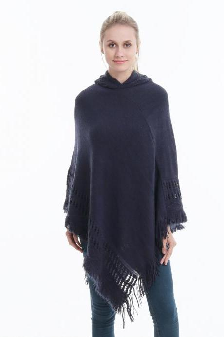 Women Tassel Cape Coat Autumn Winter Knitted Hollow out Hooded Fringe Poncho Asymmetrical Tops navy blue