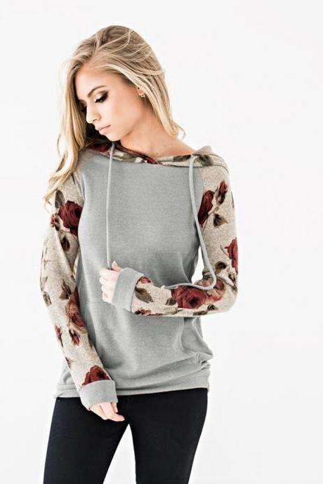 Women Hoodies Autumn Floral Printed Patchwork Long Sleeve Drawstring Hooded Casual Sweatshirt gray