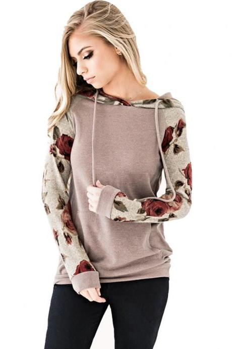 Women Hoodies Autumn Floral Printed Patchwork Long Sleeve Drawstring Hooded Casual Sweatshirt light coffee