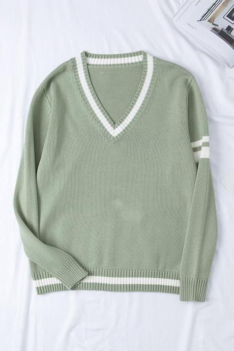 Japanese School JK Uniform Sweater Autumn Winter Couples Lovers Unisex Warm V Neck Long Sleeve Pullover Tops pale green