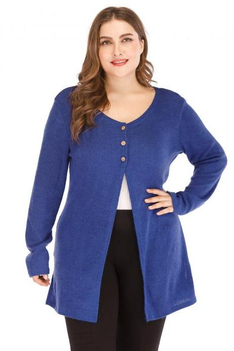 Women Cardigan Coat Autumn Long Sleeve Button Casual Basic Plus Size Jacket blue